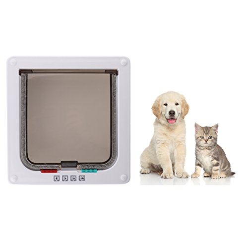 Cat Flaps Cat Doors Pet Supplies Locking Kitten White Door Kit for Small Animals for Sliding Door, Secures Your Pet with 4 Way Locking Cat Door White Large Size by CHICTRY (Image #2)