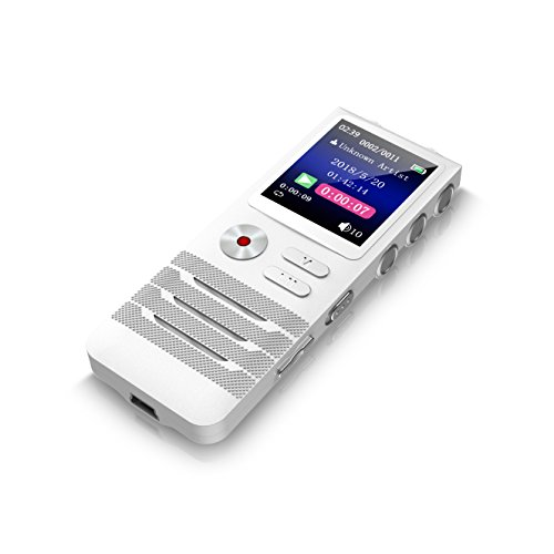 Dansrueus Digital Voice Activated Recorder with Double Microphone, 8GB Digital Audio Voice Recorder with MP3 Player, Noise Cancelling Dictaphone Recorder for Lectures Meetings Interviews by Dansrueus