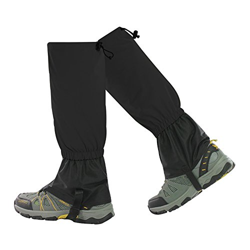 Leg Gaiters for Women and Man ,Crayfomo ,Outdoor Waterproof Breathable Snow Leg Cover for Hiking Walking ,Climbing ,Skiing (black,1 Pair)