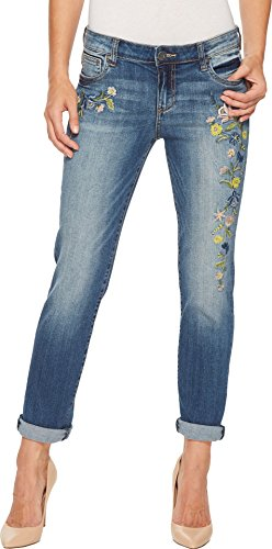 Cotton Embroidered Jeans (KUT from the Kloth Women's Catherine Boyfriend Embroidered In Dealt Dealt/Medium Base Wash 4 30)