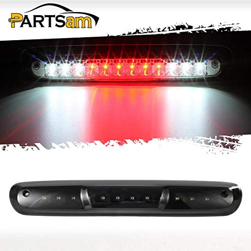 Partsam Replacement for Chevy Silverado and GMC Sierra 2007-2014 1500 2500 HD 3500 HD Red/White LED Black Housing High Mount 3rd Third Brake Light Cargo Tail Lamp