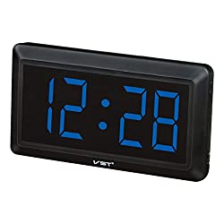 Jili Online 4'' Large LED Screen Display Digital Table Desk Clock Wall Clocks Time for Study Room - Blue, as described