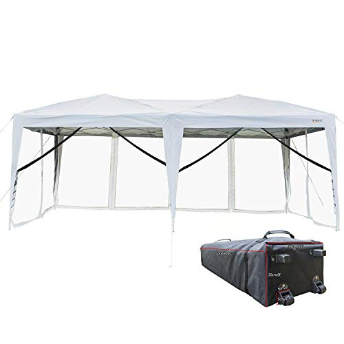 VINGLI 10' x 20' EZ POP UP Canopy Tent with 6 Removable Mesh Sidewalls,Shelter Anti-UV Anti-Mosquito, Screen House Family Party,Folding Instant Commercial Wedding Gauze Gazebo,Wheeled Carry Bag,White