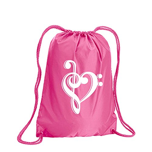 music note heart Cinch Pack in Hot Pink – Large 17×20
