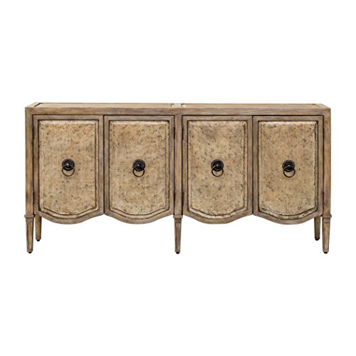 My Swanky Home Luxe Champagne Metallic Scalloped Console Cabinet   Media Table 4 Door Carved