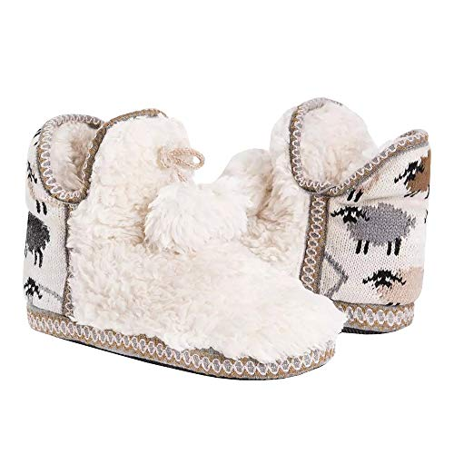 (Fashare Womens Sherpa Fleece Lined Slipper Boots Bedroom Indoor Warm Cozy Pom Cute Booties House Winter Shoes White)