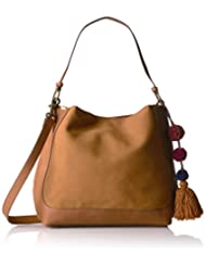 T-Shirt & Jeans Hobo with Pom, Cognac