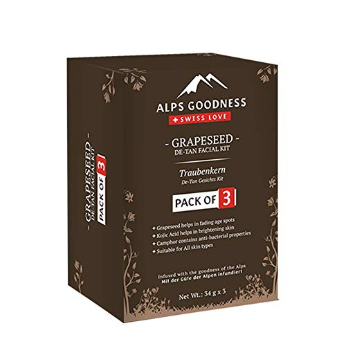 Alps Goodness Grapeseed De-Tan Facial Kit – Pack of 3 (34 g x 3) – Helps Fade Age Spots & Sun Damage, Imparts Skin Brightness – Cruelty Free