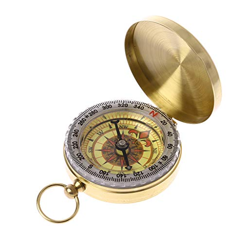 Zripool Pure Copper Clamshell Compass with Luminous Pocket Watch Compass Portable Outdoor Multi-Function Metal Measuring Ruler Tool Ring Keychain