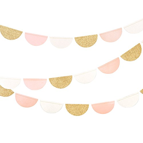 Lings moment 9.8Feet Hanging Glitter Semi Circle Dots Party Garland, Pink Gold White Banner Pennant Paper Bunting Decorations for Baby Nursery, Bridal Showers, Birthday, Party Wedding Backdrop