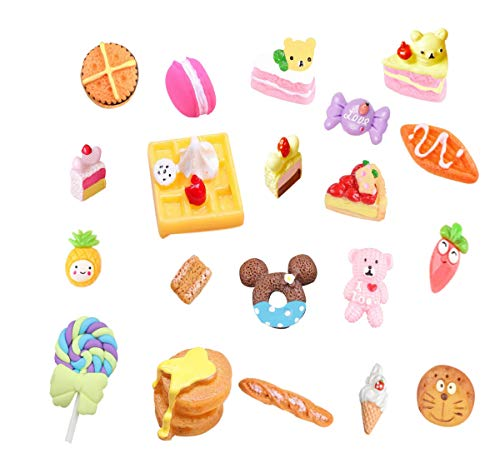 20 pcs 3D Slime Charm Slices Resin Flatback Dessert Bead Button Cake Ice Cream Bread Donut Macarons, Fruit Pineapple Sweets Lollipop Bear for DIY Scrapbooking Embellishment Phonecase Hair Clip ()