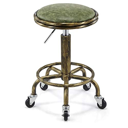 Barstools Retro Bar Stools Bar Chairs Breakfast Dining Stools for Kitchen Island Counter Bar Stools Leatherette Exterior/Adjustable Swivel Gas Lift/Chrome Steel Footrest & Base - Beauty Haircut Swivel