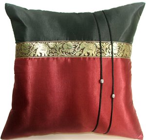 Artiwa 16''x16'' Maroon & Black Thai Elephants Couch Bed Decorative Silk Accent Pillow Case by Artiwa