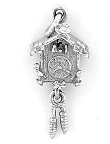 Wholesale Cuckoo Clocks - Sterling Silver Cuckoo Clock Charm/Pendant Jewelry Making Supply Pendant Bracelet DIY Crafting by Wholesale Charms