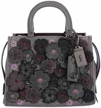 2c9d9b7bf0e5 Coach 1941 Rogue 25 Applique Leather Grey Purple Handbag Bag Tea Rose  Heather Grey Black