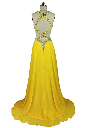 A CharmingBridal Dress Yellow LD059 Line Yellow Sexy Gowns Formal Prom Backless 5UrqPRSU