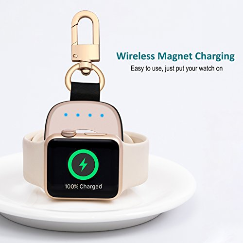 FLAGPOWER Portable Wireless Apple Watch Magnetic Charger, [Apple MFI Certified] Pocket Sized Keychain for Travel, Built in Power Bank for iWatch, Compatible with Apple Watch Series 3/2/1/Nike+ by FLAGPOWER (Image #4)