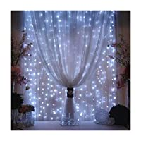 Valuetom 304 LED luces de cortina Fairy String Twinkle Lighting para la fiesta de boda en casa jardín decoración 9.8Ft9.8Ft (blanco)