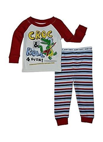 LnLClothing Infant to Toddler Boys 2pc pajamas set, Red/White, 4T