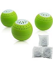 Naturlig luktneutralizer - inkl 3 refillförpackningar under en lång tids action - 2-i-1-funktion med aktivt kol - luktavfuktare avfuktare kylskåp-deo lukt luktdödare färsk