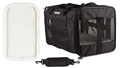 Caldwell's Pets Supply Co. Deluxe Soft-sided Airline Approved Airport Pet Carrier Travel Bag - Under Seat Carry-on for Cats and Small Dogs (Black) (Deluxe Top Loading, 17.9Lx12Wx11W)