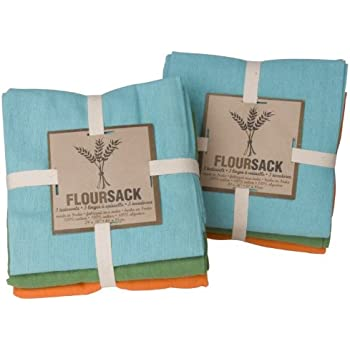 Now Designs Floursack Kitchen Towels, Set Of Six, Bali Blue/Cactus Green/