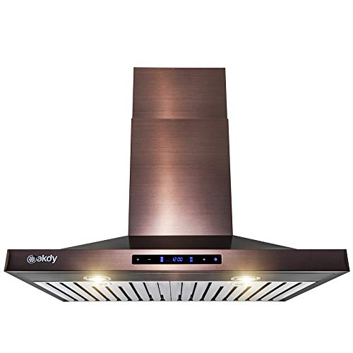 AKDY Wall Mount Range Hood -30 in. Stainless Steel Hood for Kitchen – 3 Speed Professional Quiet Motor – Premium Touch Control Panel – Minimalist Design (Brushed Bronze Stainless Steel)