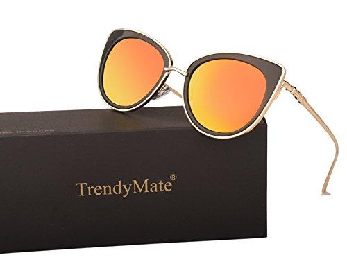 TrendyMate Women Metal Cute Cat Eye Mirror Sunglasses Fashion Eyewear (Gold Frame Purple Red, 0) - Gold Cats Eye