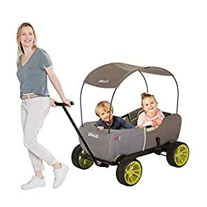 Hauck Eco Mobil - Multifunctional Wagon with Removable Shade Canopy | Transport Cart for Kids | Foldable Utility Wagon | Garden Cart - Forest Green T93108