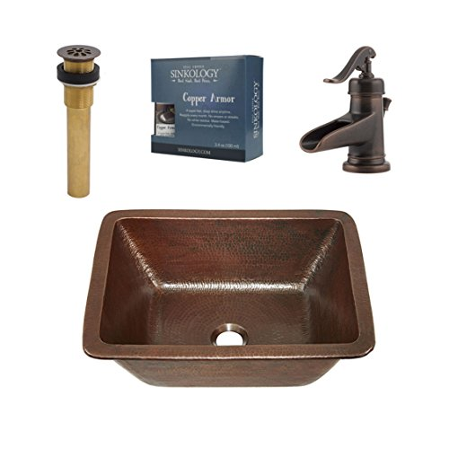 (Sinkology SB205-17AG-F042 Ashfield Hawking 17-in. All-in-One Undermount or Drop-in Copper Sink Design Kit with Pfister Rustic Bronze Faucet and Drain)