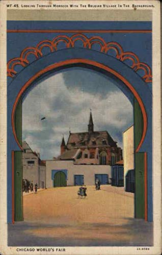 Looking through Morocco with Belgian Village in Background 1933 Chicago World Fair Original Vintage Postcard