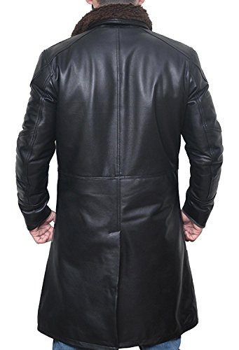 Decrum BladeRunner Black Long Trench Leather Mens Shearling Coat | PU Black, M by Decrum (Image #2)