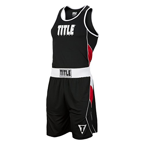 Title Boxing Aerovent Elite Amateur Boxing Set 8, Black/Red, XX-Large (Jersey Boxing Racerback Title)