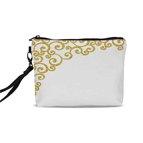 Gold and White Simple Cosmetic Bag,Side Frame of Floral Ivy Round Swirl Antique Victorian Details Artwork Decorative for Women,9