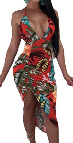 V Maxi Women Neck Dress Irregular Long Floral Party Beach Print Red Jaycargogo qnTwtzt