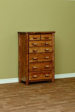White Cedar Classic 7 Drawer Chest *Clear Coat* - Log Seven Drawer Dresser