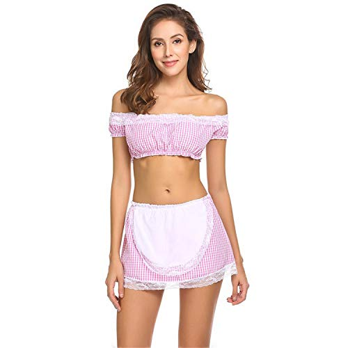 Sexy Uniform Maid Lace Women Plaids Costume Off Shoulder Set Patchwork ropa Interior Mujer Erotica(S,Pink)