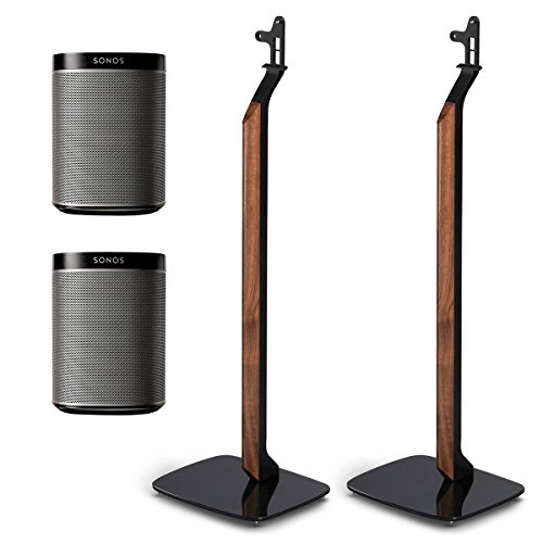Sonos PLAY:1 All-In-One Wireless Speakers with Flexson Premium Floor Stands - Pair (Black) by Sonos