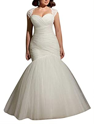 YXJdress Simple Tulle Plus Size Wedding Dress Mermaid Bridal Gown