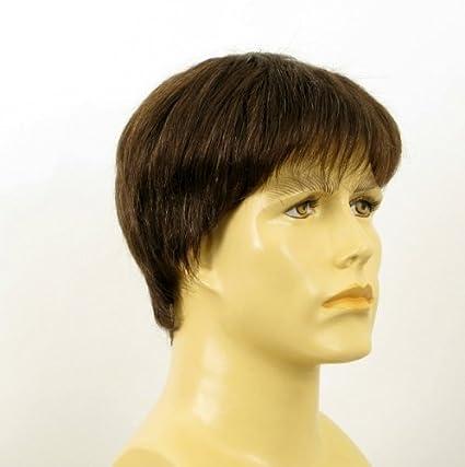 Peluca hombre cabello 100% natural marrón con pelo blanco STEVE 6SPW
