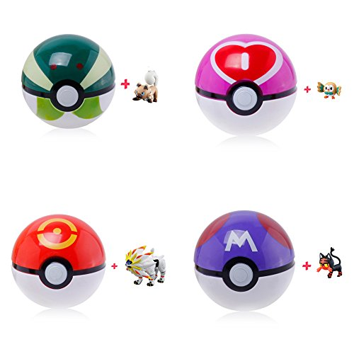 Andyshi 4 Pieces Anime Figures Pocket Monster Ball Cartoon Pokeball Plastic Pop-up Toys Cosplay Gift Colorful Size 7cm Hot For Children Kids