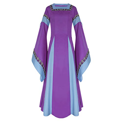 iCos Women Medieval Long One-Piece Royal Dress Renaissance Belle Sleeve Retro Gown Halloween Costume (Large, -