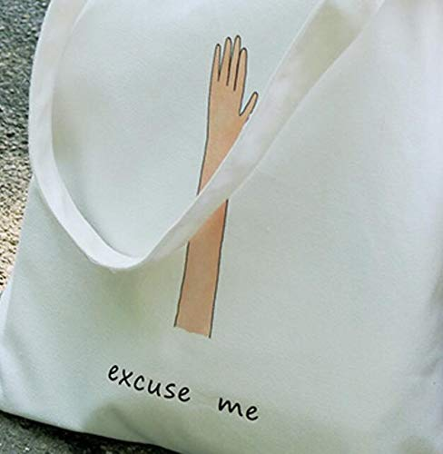 White Zhoyea Durable Multipurpose Canvas Hands Up Excuse Me Shoulder Bag Large Capacity Light School Books Bag