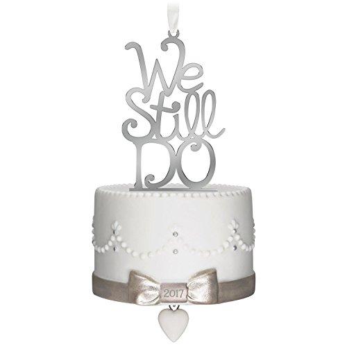 Hallmark Keepsake 2017 We Still Do Porcelain and Metal Dated Anniversary Christmas (Cake Ornaments Decorations)