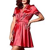 Joyance Women's Sexy Silk Kimono Dress Doll, Lace Cutout Back Satin Satin Bathrobe Pajamas Red