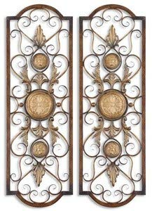 Uttermost Micayla Panels 0.75 x 14 x 42 (Set of 2), Antiqued Gold