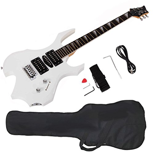 Glarry Cool Burning Fire Style Electric Guitar Christmas gift for Beginner Guitar Lover with Accessories Pack (white) by GLARRY