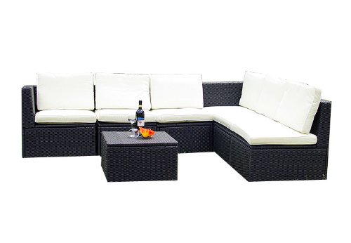 Gartenmöbel 7tlg. Sitzgruppe Poly Rattan Lounge Garten Garnitur ...