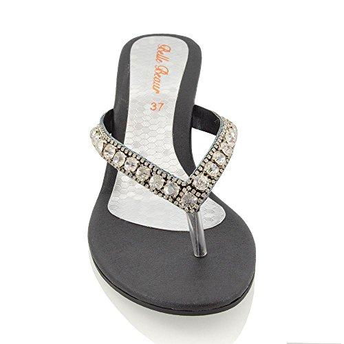Glam Effetto Sandalo Scintillante Finto Nero Donna Bassa Diamante Zeppa con Essex Bq87zdB