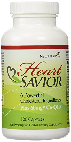 HeartSavior Cholesterol Supplement by New Health, 6 Powerful Cholesterol and Triglyceride Fighting Ingredients Plus 60 MG Co-Q10 (120 caps)